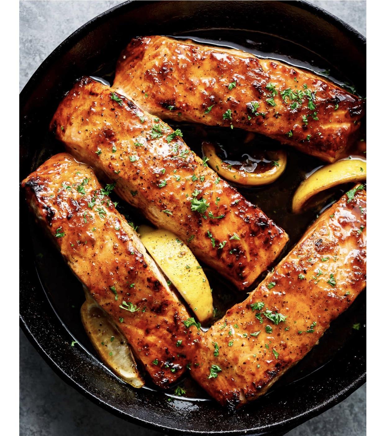honey and lemon glazed salmon