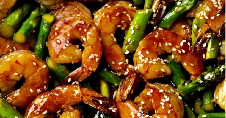 bbq sesame shrimp with asparagus