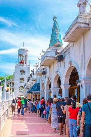 The queueing of pilgrims and believers to the Our Lady of Simala in Upper Lindogon, Sibonga
