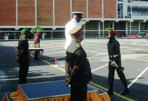 Best Student Shaquel Carrol collects his trophy from Chief -of –Staff of the Guyana Defence Force Commodore Gary Best