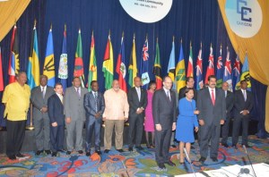 Official photo at the conclusion of the 34th Regular meeting of CARICOM Heads of Government. Also in photo are President of the Dominican Republic Danilo Medina (third from left), President of Equatorial Guinea, Teodoro Obiang Nguema and Venezuelan President Nicolas Maduro (third from right) (OP/Sandra Prince photo)