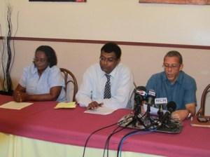 L - R: AFC Member, Beverly Alert; AFC Leader, Khemraj Ramjattan; and Dominic Gaskin. [Photo: iNews]