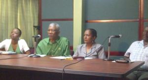Leader of the Opposition, David Granger (left) along with other members of the APNU. [iNews' Photo]
