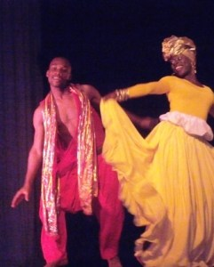Two dancers from the National Dance Company performing at the Theatre Thalia in Paramaribo, Suriname