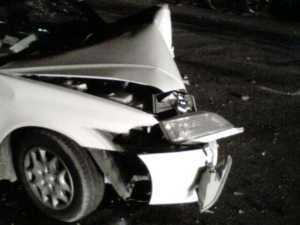One of the damaged cars involved in the accident.
