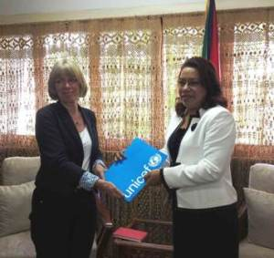 UNICEF's Representative for Guyana and Suriname, Ms. Marianne Flach presents her Credentials to Foreign Affairs Minister Carolyn Rodrigues-Birkett