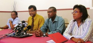 Leader of the minority party, Khemraj Ramjattan (second from left) along with other members of the AFC. [iNews' Photo]
