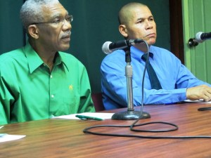 APNU Leader, David Granger [left] and Party Member, Dr. George Norton during the press conference today. [iNews' Photo]