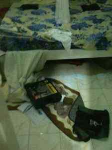 The ransacked bedroom.