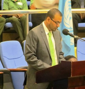 Minister Persaud during his remarks at the opening of the meeting.