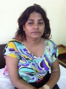 The distraught Seema Rama. [Stabroek News' Photo]