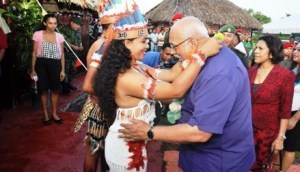President Ramotar is greeted on his arrival at the Amerindian Heritage Month.