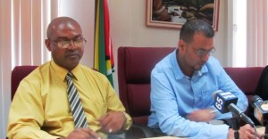 L - R: GGMC Commissioner Rickford Vieira and Natural Resources Minister, Robert Persaud. (iNews' Photo).