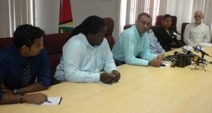 Minister Persaud [third from right] along with WWF and GFC officials.
