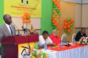 Guyana Labour Union's President, Winston Joseph speaking at the Delegates Congress