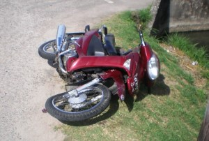 The motorcycle involved in the accident. [Haresh Gopie Photo]
