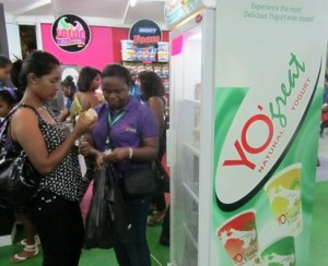 A customer tries the new Sterling Product at the GuyExPo booth. [iNews' Photo]