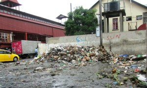 Some of the garbage has been removed from behind the Fire Station. [iNews' Photo]