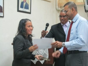 Shibanah Lara (left) and Natural Resources and Environment Minister, Robert Persaud during the swearing in ceremony. [iNews' Photo]