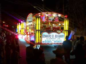 One of the floats during the motorcade on Saturday night.