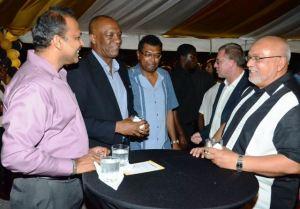 President Donald Ramotar (right) along with Culture Minister, Dr. Frank Anthony (first from left); APNU Executive Memeber, Joseph Harmon; Leader of the AFC, Khemraj Ramjattan.