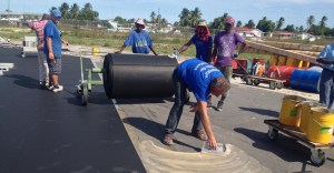 The laying of the Rubberized Surface