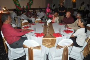 President Donald Ramotar, Prime Minister Samuel Hinds, Minister of Natural Resources and the Environment Robert Persaud, President of the GGDMA, Patrick Harding and the president's daughter at the GGDMA's dinner and dance.