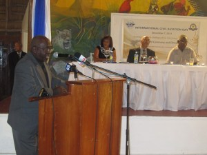 Chairman of the GCAA Hugh Denbow deliver remarks at the award ceremony. [iNews' Photo]