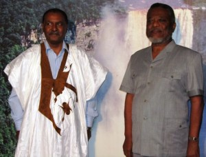 Acting President Samuel Hinds [right] and Ambassador Lehebib Abderahaman Didi [left]