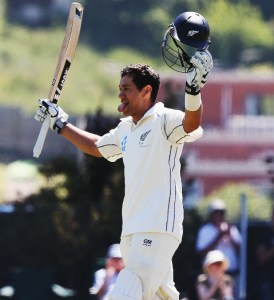 Ross Taylor acknowledges the applause on reaching his maiden double-century.