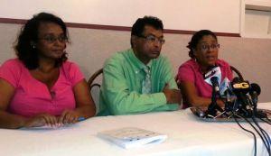 L - R: AFC Executive Member, Beverly Alert; AFC Leader, Khemraj Ramjattan and Cathy Hughes. [iNews' Photo]