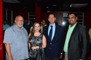From left to right : President Donald Ramotar, Mrs Guillermo Gomez, COPA airlines Sales Manager Guillermo Gomez and Tourism Minister Irfaan Ali