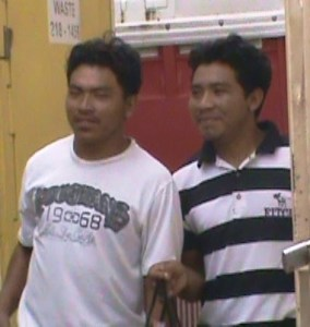 Phillip and Franklin Sutheran during their appearance at the Georgetown Magistrate's Court. [iNews' Photo]