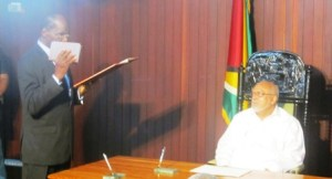 Winston Moore was officially sworn in as the Ombudsman at the Office of the President. [iNews' Photo]