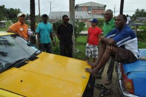 Leader of the APNU, David Granger interacts with Linden residents during the outreach.