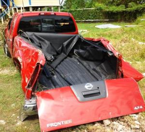 The vehicle which struck down the woman. [iNews' Photo]
