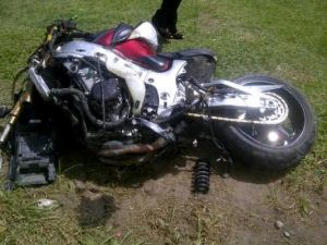 The motorcycle which Indhall was riding at the time of the accident. [iNews' Photo]