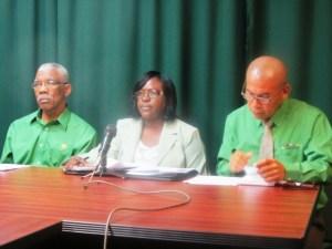APNU's Leader, David Granger followed by Dr. Karen Cummings and Dr. Georg Norton. [iNews' Photo]