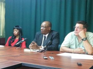 APNU Executive Member, Joseph Harmon (center) followed by PNCR Member, Anthony Vieira. [iNews' Photo]