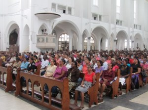 Scores of persons gathered at the Cathedral of Immaculate Conception on Brickdam. [iNews' Photo]