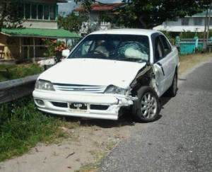 The Taxi was heading to Georgetown from Timehri when the accident occurred.