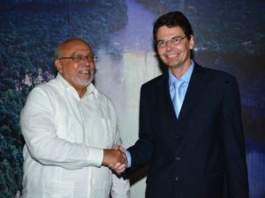 President Ramotar and Austrian Ambassador, Gerhard Mayer. [Sandra Prince Photo]