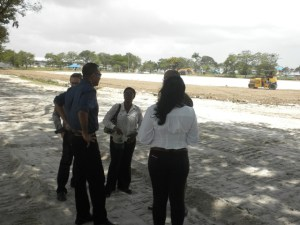 Natural Resources Minister, Robert Persaud at the construction site.