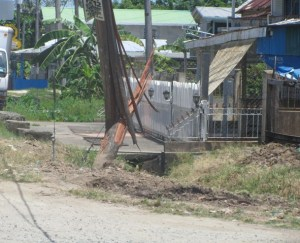 The utility pole which the car slammed into. [iNews' Photo]