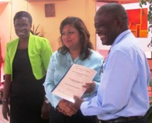 Education Minister, Priya Manickchand and Vice Chancellor of UG, Professor Jacob Opadeyi. [iNews' Photo]
