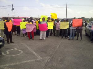 The picketing exercise at the University of Guyana. [iNews' Photo]