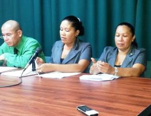 APNU Members from L-R: Dr. George Norton, Renita Williams and Dawn Hastings. [File iNews' Photo]