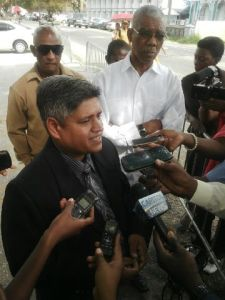 APNU Member, Jaipaul Sharma speaks to members of the media after submitting his resignation. [iNews' Photo]