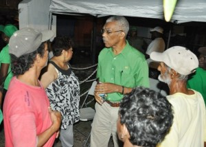 Leader of the Opposition, David Granger interacting with residents of Rose Hall.