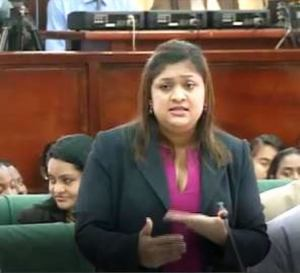 Education Minister, Priya Manickchand makes her contribution to the Budget debate. [iNews' Photo]